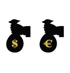 Euro and dollar in bag with hand vector