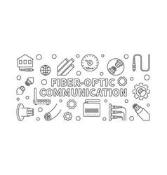 Fiber-optic communication outline banner vector