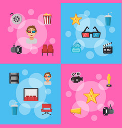 flat cinema icons infographic concept vector image