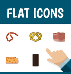 Flat icon meal set of beef cookie confection and vector