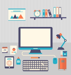 flat icons of trendy everyday objects office vector image