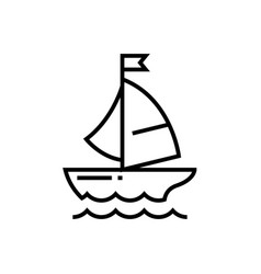 floating boat line icon concept sign outline vector image