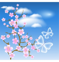 Flowering tree against a background of clouds vector