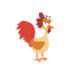 Funny angry hen comic cartoon chicken bird vector
