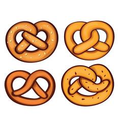 German pretzel icon set cartoon style vector