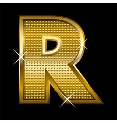 Golden font type letter R vector
