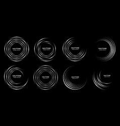 halftone pattern circle dots frames set vector image