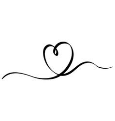 Hand drawn heart with thin line divider shape vector