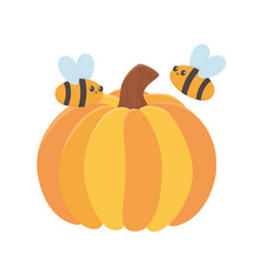 happy thanksgiving day pumpkin and flying bees vector image