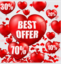 Happy valentines day background with big sale bal vector