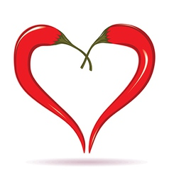 Heart of chili peppers vector image