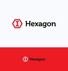 Hexagon cube logo vector image
