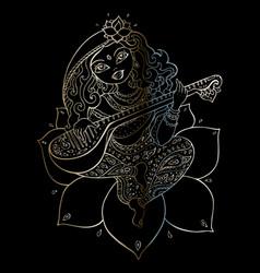 hindu goddess saraswati vector image