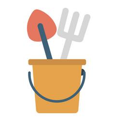 hobequipments shovel and rake in pail vector image
