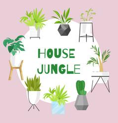 Home jungle plants in scandinavian style vector