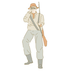 Hunter armed with rifle looking into binoculars vector