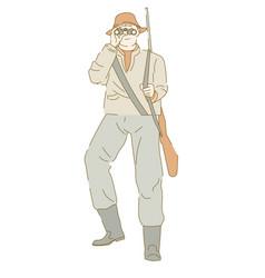 hunter armed with rifle looking into binoculars vector image