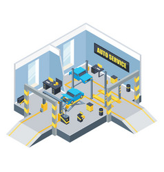 interior of auto service with different tools and vector image