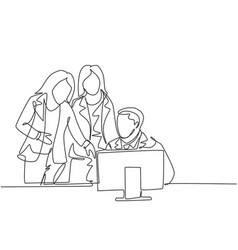 job training concept one continuous line drawing vector image