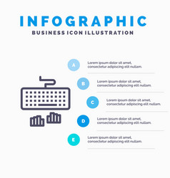 Keyboard interface type typing blue infographics vector