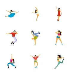 Kind of dances icons set flat style vector image
