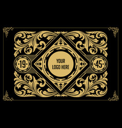 label packaging gold ornate border elegant vector image