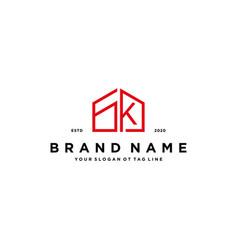 Letter gk home logo design concept vector