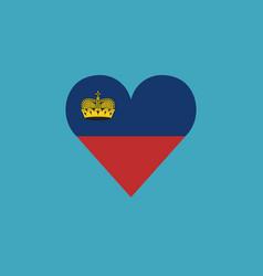 Liechtenstein flag icon in a heart shape in flat vector