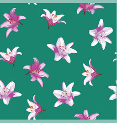 lily flowers seamless pattern green background vector image