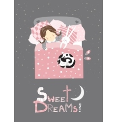 Little girl sleeping with cat vector