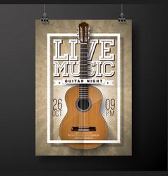 Live music flyer design with acoustic guitar vector