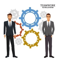 men gear teamwork corporate business vector image