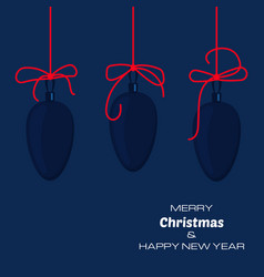 merry christmas and new year dark blue background vector image