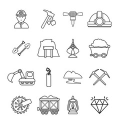 mining minerals business icons set outline style vector image
