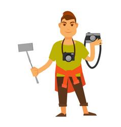 modern photographer with modern and old equipment vector image