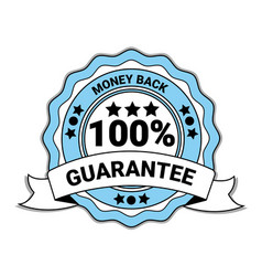 money back with 100 percent guarantee emblem blue vector image