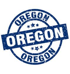 Oregon blue round grunge stamp vector
