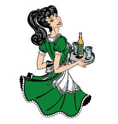 Patricks day theme retro waitress vector