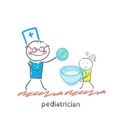 pediatrician gives the tablet in a cup of baby vector image