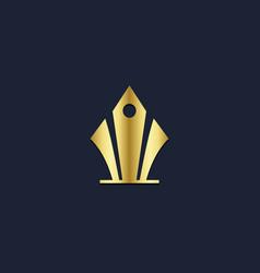 pen write gold logo vector image