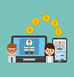 People transfer bitcoin digital online banking vector