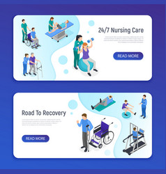 Physiotherapy isometric banners vector
