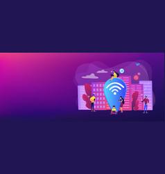 Public wi-fi hotspot concept banner header vector