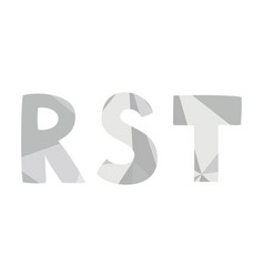 R s t grey alphabet letter set isolated on white vector