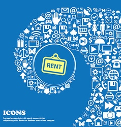 Rent sign symbol Nice set of beautiful icons vector image