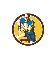 Rugby player running goose steps circle retro vector
