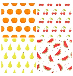 seamless pattern set with fruits Watermelon orange vector image