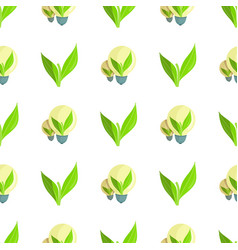 seamless pattern with green plant and light bulbs vector image
