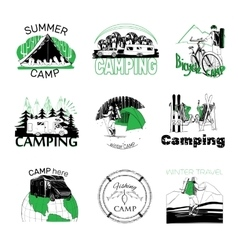 Set of camp labels and logo graphics vector