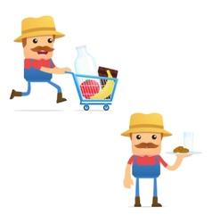 set of funny cartoon farmer vector image